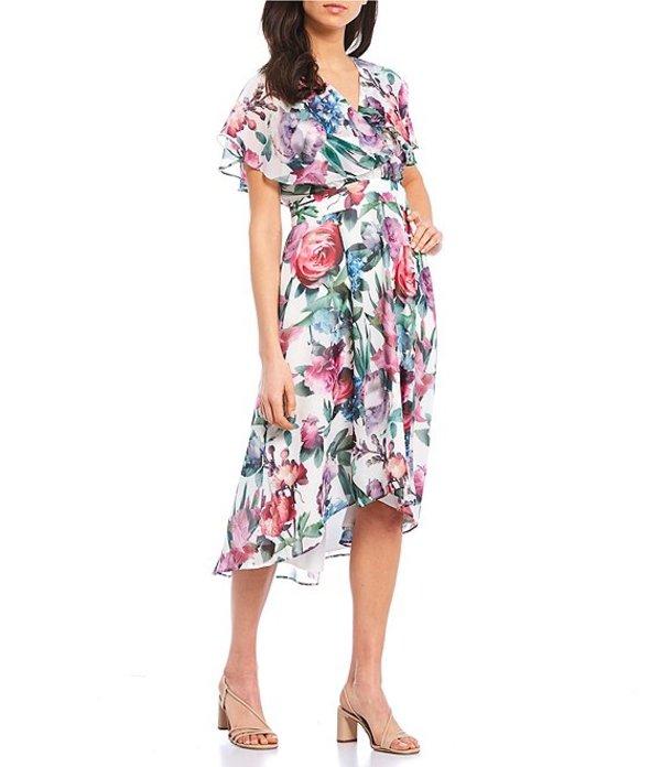 マギーロンドン レディース ワンピース トップス Butterfly Sleeve V-Neck Chiffon Midi Dress Cream/Berry