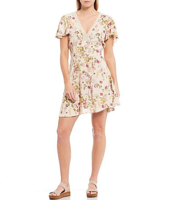 バンドオブジプシーズ レディース ワンピース トップス Agave Floral V-Neck Flutter Sleeve Mini Dress Ivory Pink