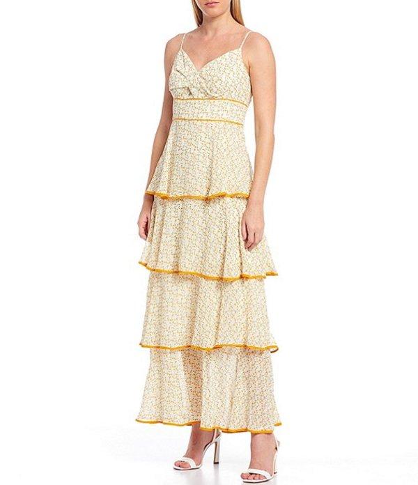 スカイズアブルー レディース ワンピース トップス Floral Print Sweetheart Neck Sleeveless Tiered Maxi Dress Ivory/Yellow