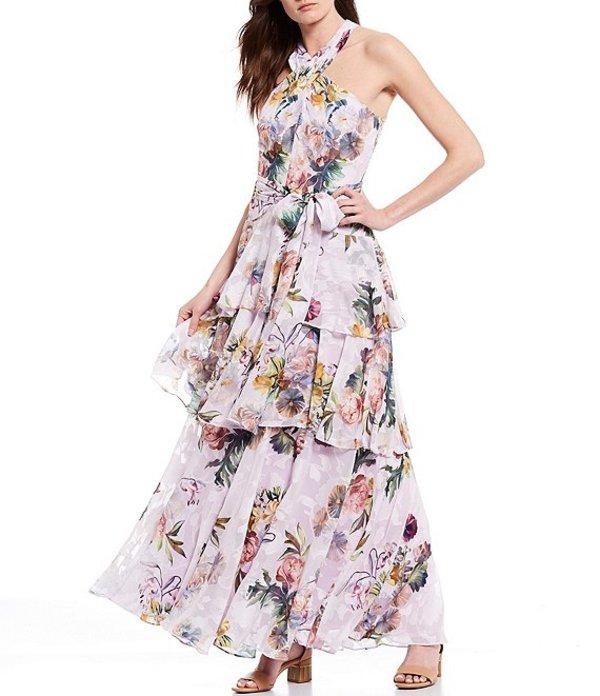 アレックスマリー レディース ワンピース トップス Valeria Floral Tie Waist Halter Neck Tiered Ruffle Gown Lavender/Gold