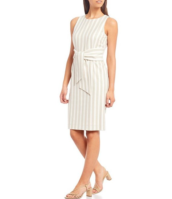 アントニオ メラーニ レディース ワンピース トップス Serena Novelty Stripe Round Neck Sleeveless Belted Sheath Dress Dune/Ivory