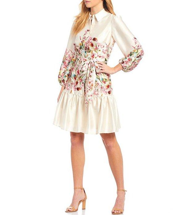 アントニオ メラーニ レディース ワンピース トップス Damian Floral Placement Print Belted Twill Flounce Hem Shirtdress Vanilla/Bubblegum
