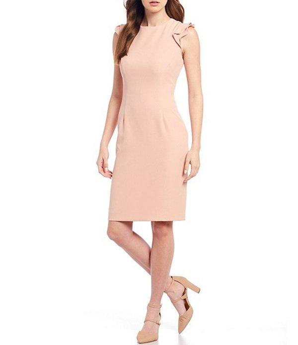アントニオ メラーニ レディース ワンピース トップス Molly Stretch Crepe Round Neck Ruffle Cap Sleeve Sheath Dress Pink Sand