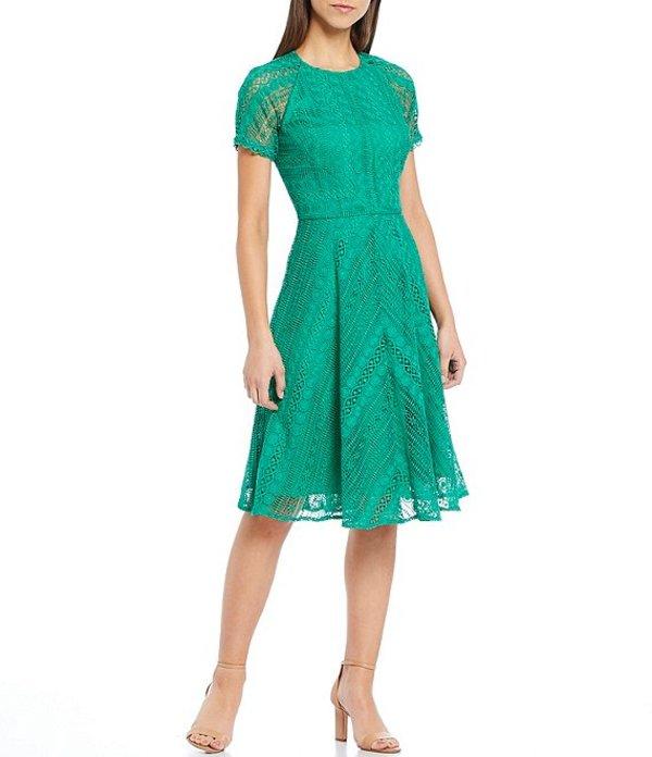 アントニオ メラーニ レディース ワンピース トップス Dante Short Scallop Trim Sleeve Lace Dress Clover Green