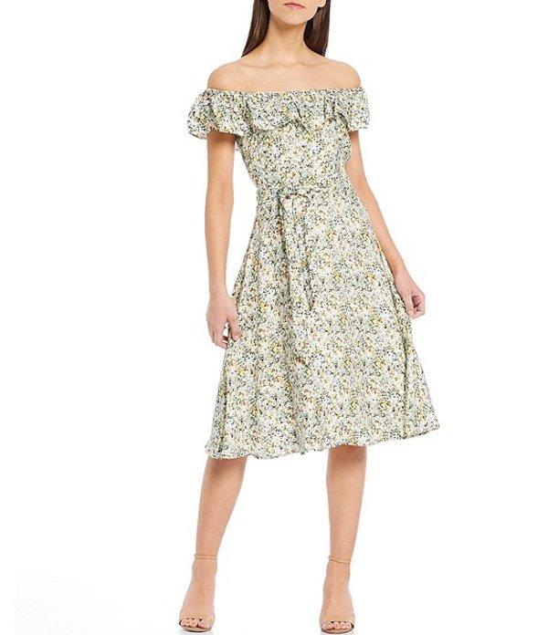 アントニオ メラーニ レディース ワンピース トップス Debbie Floral Print Off-The-Shoulder Tie Waist Midi Dress Ivory/Pool