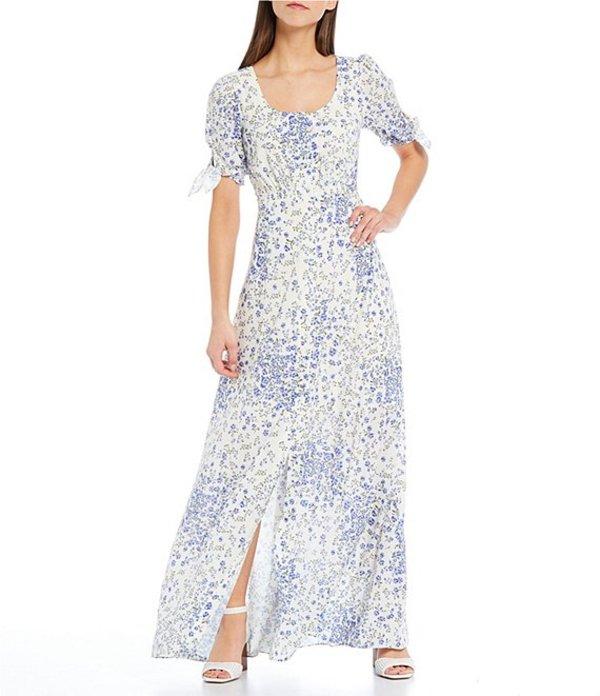 ギャルミーツグラム レディース ワンピース トップス Brigitte Floral Print Cotton Blend Short Tie Sleeve Maxi Dress Purple/Blue