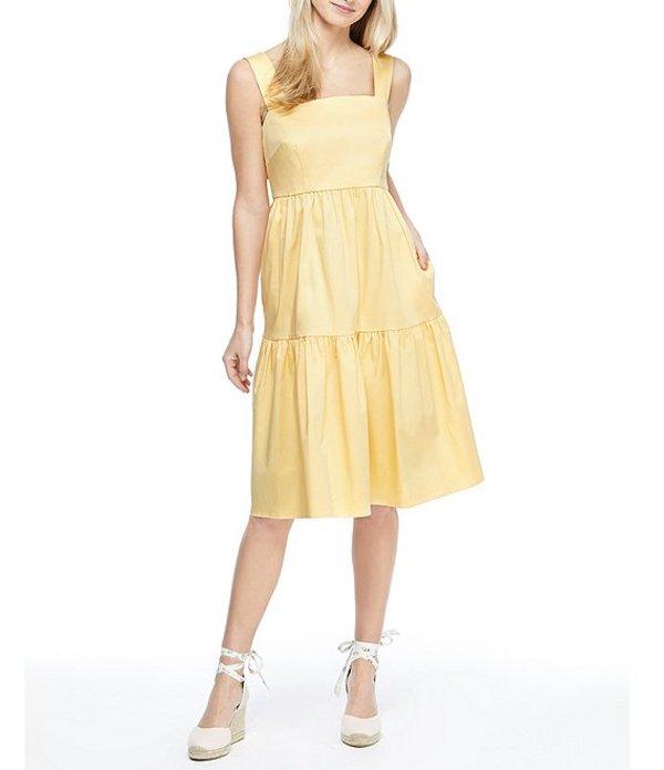 ギャルミーツグラム レディース ワンピース トップス Desiree Square Neck Sleeveless Tiered Fit & Flare Cotton Dress Canary