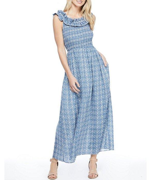ギャルミーツグラム レディース ワンピース トップス Tessa Ruffle Round Neck Sleeveless Cotton Maxi Dress Blue Bird