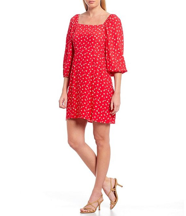 サンクチュアリー レディース ワンピース トップス Cilia Square Neck Floral Print 3/4 Balloon Sleeve Mini Dress Wildflower Red