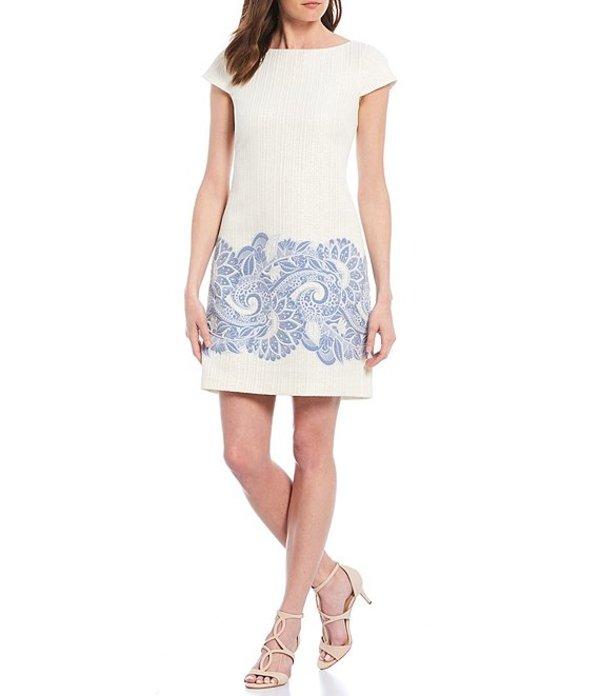 ヴィンスカムート レディース ワンピース トップス Cap Sleeve Jacquard Metallic Embroidered Shift Dress Blue/Ivory