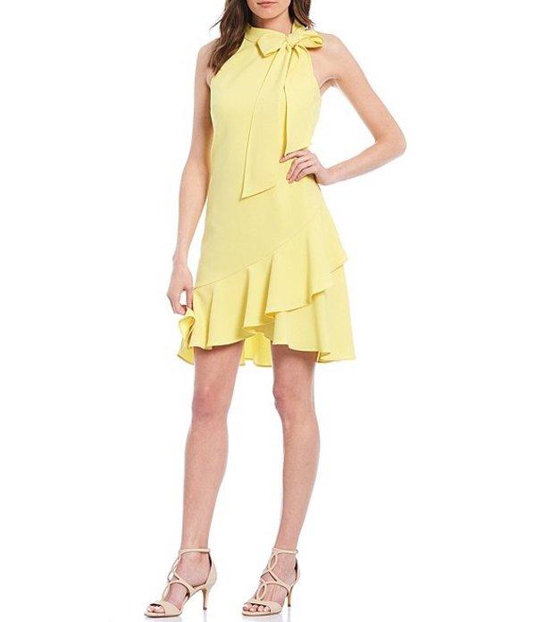 ヴィンスカムート レディース ワンピース トップス Halter Bow Neck Sleeveless Ruffled Shift Dress Yellow
