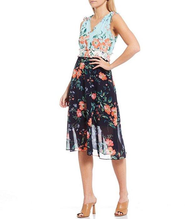 ヴィンスカムート レディース ワンピース トップス V-Neck Sleeveless Floral Smocked Chiffon Midi Dress Navy Multicolor