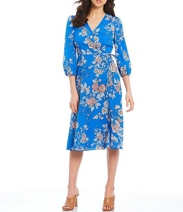 ヴィンスカムート レディース ワンピース トップス V-Neck 3/4 Sleeve Floral Faux Wrap Midi Dress Blue Multicolor