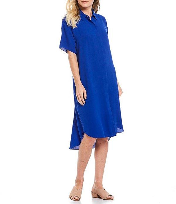 エイリーンフィッシャー レディース ワンピース トップス Silk Georgette Crepe Classic Collar Short Sleeve Shirt Dress Royal