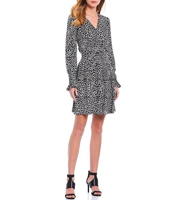 マイケルコース レディース ワンピース トップス MICHAEL Michael Kors Abstract Animal Print V-Neck Long Sleeve Tiered Smocked Dress Multi