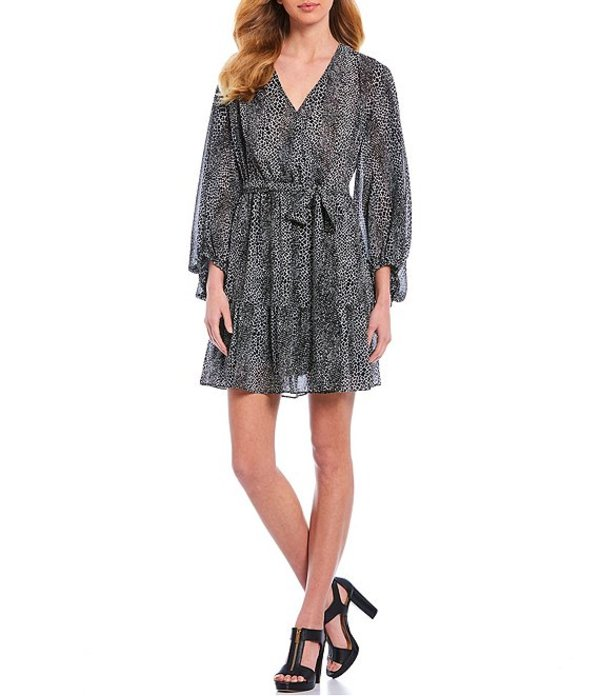 マイケルコース レディース ワンピース トップス MICHAEL Michael Kors Graphic Snake Skin Print Georgette V-Neck 3/4 Blouson Sleeve Wrap Dress Multi