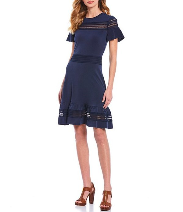 マイケルコース レディース ワンピース トップス MICHAEL Michael Kors Crepe Jersey Mesh Inset Detail Short Flutter Sleeve Dress True Navy