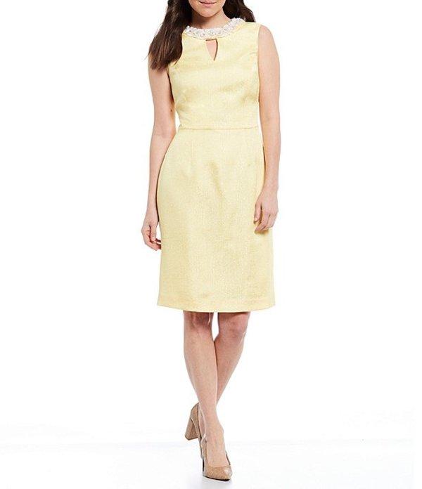プレストンアンドヨーク レディース ワンピース トップス Merry Jacquard Sleeveless Keyhole Neck Sheath Dress Citrus