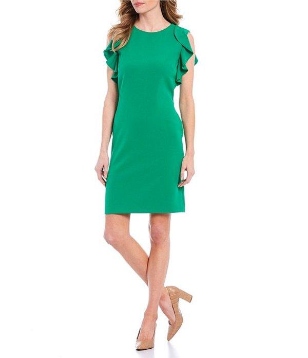 プレストンアンドヨーク レディース ワンピース トップス Elizabeth Sleeveless Ruffle Detail Crepe Shift Dress Clover