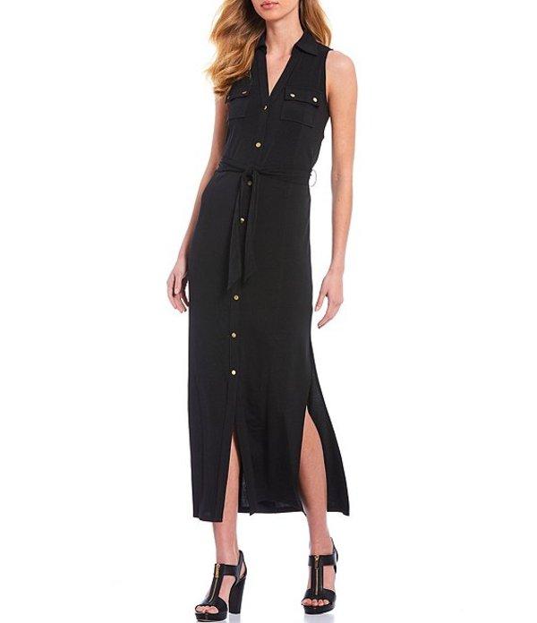 マイケルコース レディース ワンピース トップス MICHAEL Michael Kors Lux Matte Jersey Sleeveless Button Front Tie Waist Midi Shirt Dress Black
