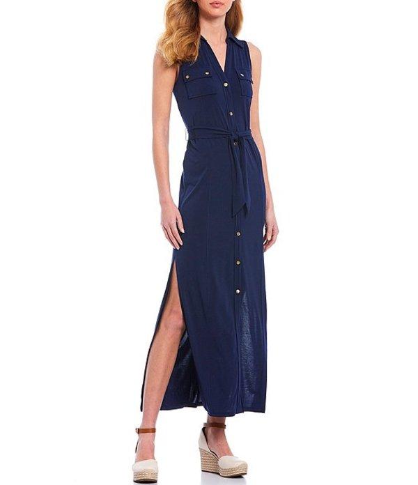 マイケルコース レディース ワンピース トップス MICHAEL Michael Kors Lux Matte Jersey Sleeveless Button Front Tie Waist Midi Shirt Dress True Navy