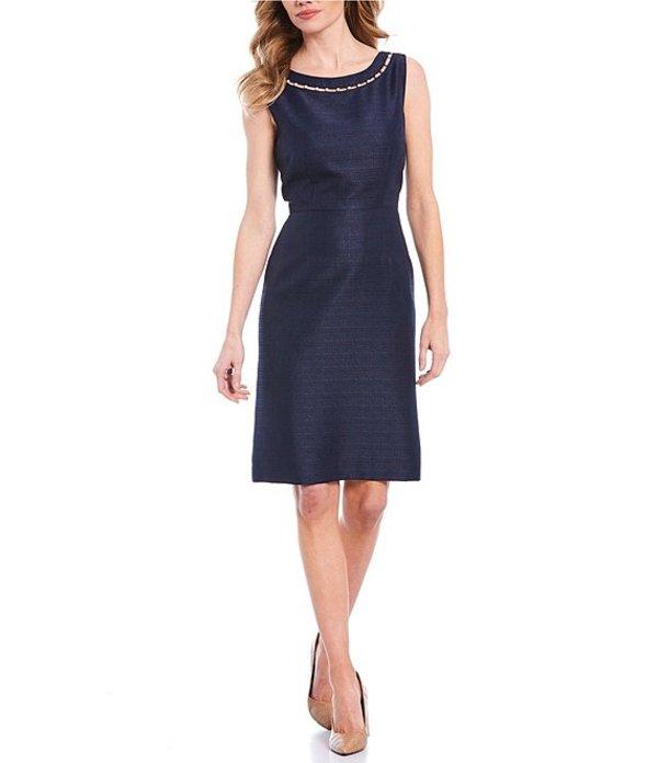 プレストンアンドヨーク レディース ワンピース トップス Corinne Pearl Sparkle Suiting Sleeveless Sheath Dress Navy