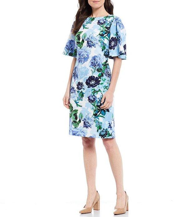 プレストンアンドヨーク レディース ワンピース トップス Nicole Floral Elbow Sleeve Scuba Crepe Sheath Dress Ivory/Cashmere/Clover
