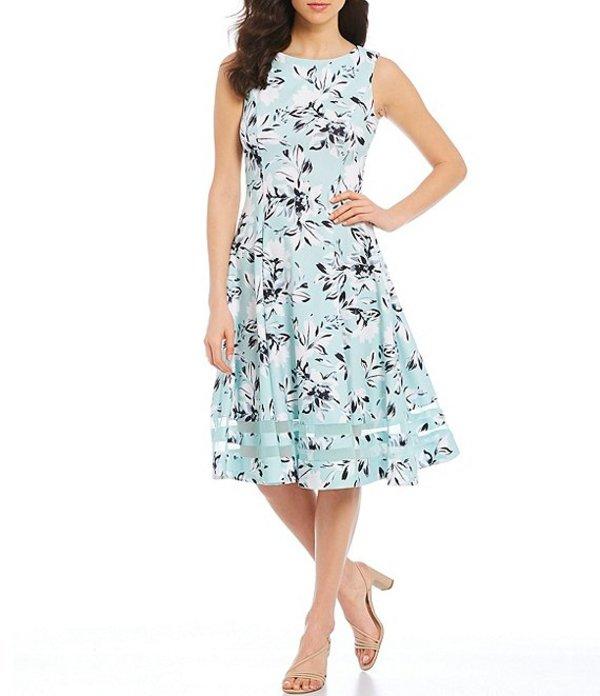 カルバンクライン レディース ワンピース トップス Illusion Hem Sleeveless Scuba Crepe Floral Midi Dress Sea Spray/Multi