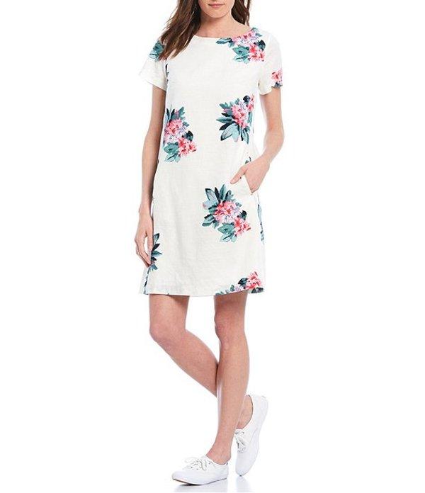 ジュールズ レディース ワンピース トップス Fifi Cotton Linen Blend Short Sleeve Shift Dress Floral Cream