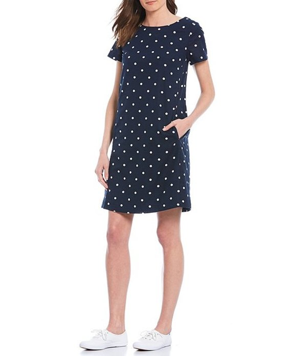 ジュールズ レディース ワンピース トップス Fifi Cotton Linen Blend Short Sleeve Shift Dress Navy Spot