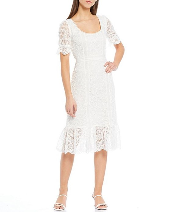 ビービーダコタ レディース ワンピース トップス Just In Lace Scoop Neck Puff Sleeve Ruffle Hem Midi Dress Ivory