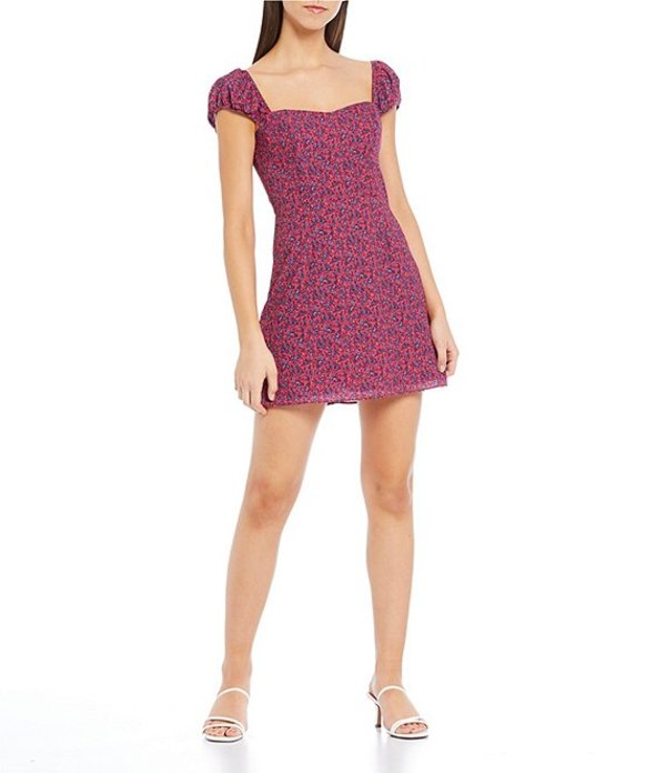 フレンチコネクション レディース ワンピース トップス Sweetheart Verona Puff Sleeve Ditsy Floral Print Mini Dress Raspberry