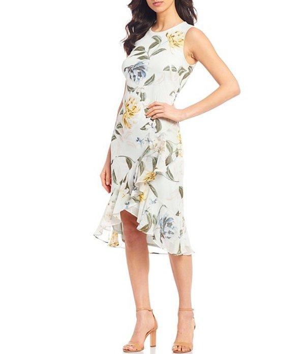 カルバンクライン レディース ワンピース トップス Pale Floral Print Asymmetrical Ruffle Drape Hem Chiffon Dress Pale Green Multi