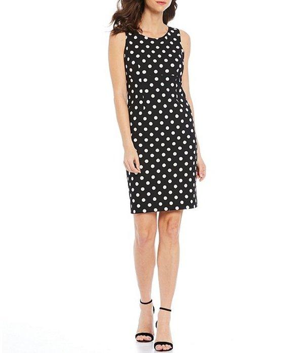カスパール レディース ワンピース トップス Polka Dot Printed Scuba Crepe Empire Seamed Sleeveless Sheath Dress Black/White