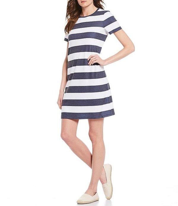 マイケルコース レディース ワンピース トップス MICHAEL Michael Kors Rugby Stripe Short Sleeve Knit Sheath Dress True Navy/White