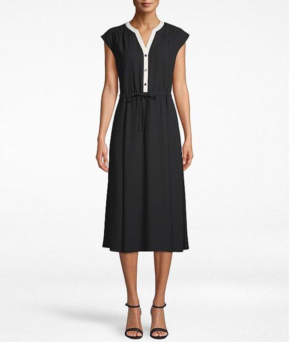 アンクライン レディース ワンピース トップス Contrast Color Split V-Neck Drawstring Waist Cap Sleeve Midi Dress Black/White