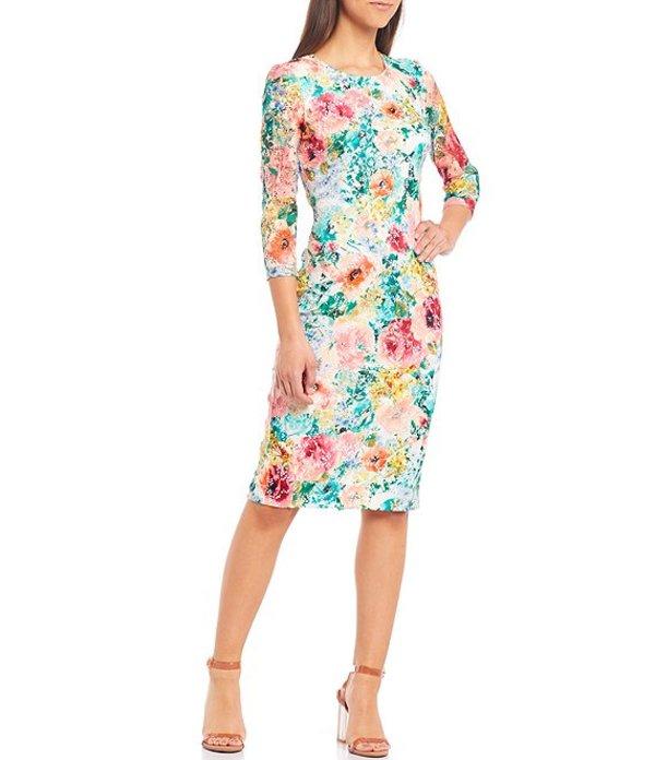ケンジー レディース ワンピース トップス 3/4 Sleeve Floral Lace Sheath Midi Dress Multi