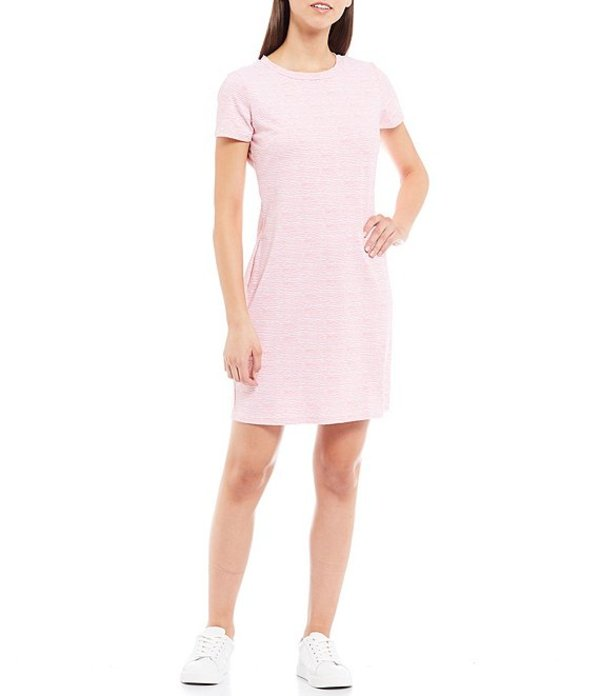 サウザーンタイド レディース ワンピース トップス Amelia Performance Wavy Stripe Print Short Sleeve Shift Dress Geranium Pink