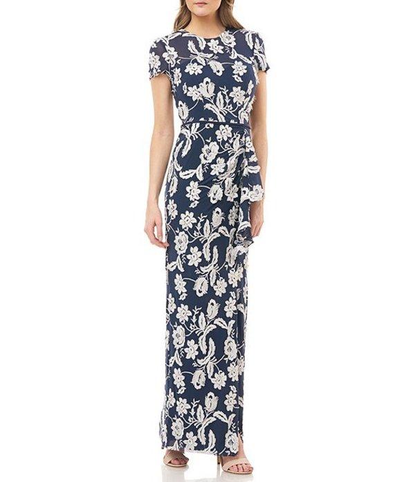 ジェイエスコレクションズ レディース ワンピース トップス Eyelash Embroidered Floral Short Sleeve Ruffle Column Gown Navy