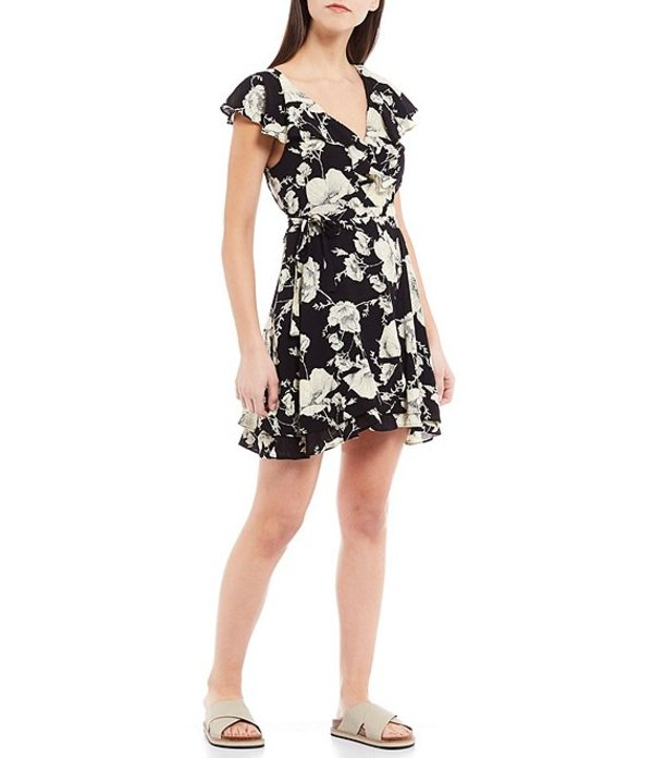 フリーピープル レディース ワンピース トップス French Quarter Floral Print Ruffle V-Neck Mini Dress Onyx Combo
