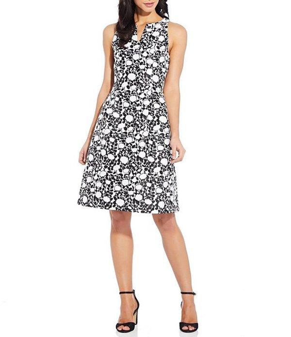 アドリアナ パペル レディース ワンピース トップス Floral Jacquard Split V-Neck Sleeveless Fit & Flare Dress Black/Ivory