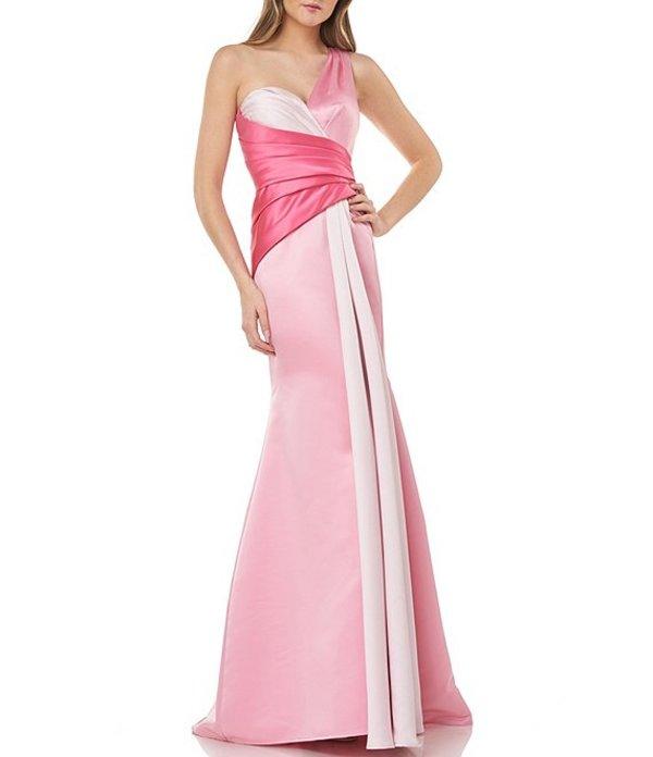カルメンマークヴァルヴォ レディース ワンピース トップス Colorblock Satin One Shoulder Sweetheart Neck Mermaid Gown Pink