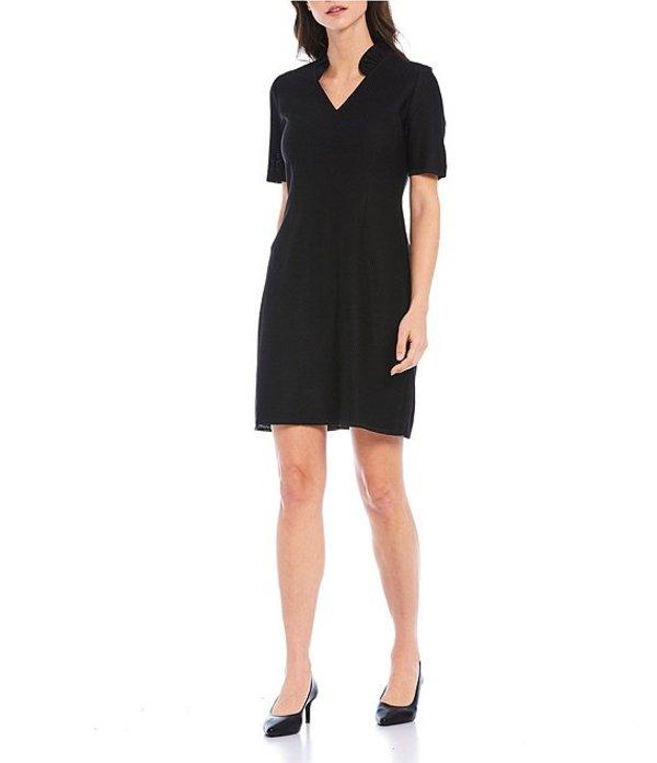 ミソック レディース ワンピース トップス Short Sleeve Ruffle Neck Shift Dress Black