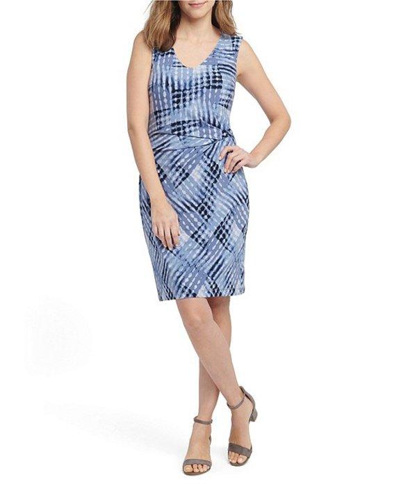 ニックアンドゾー レディース ワンピース トップス Nic + Zoe Cross Over Twist Sleeveless Geometric Print High V-Neck Dress Blue Multi
