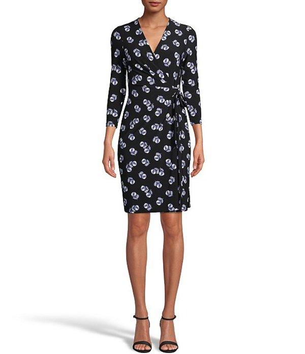 アンクライン レディース ワンピース トップス Knit Jersey Floral Print Faux Wrap V-Neck Dress Black/Rainshadow