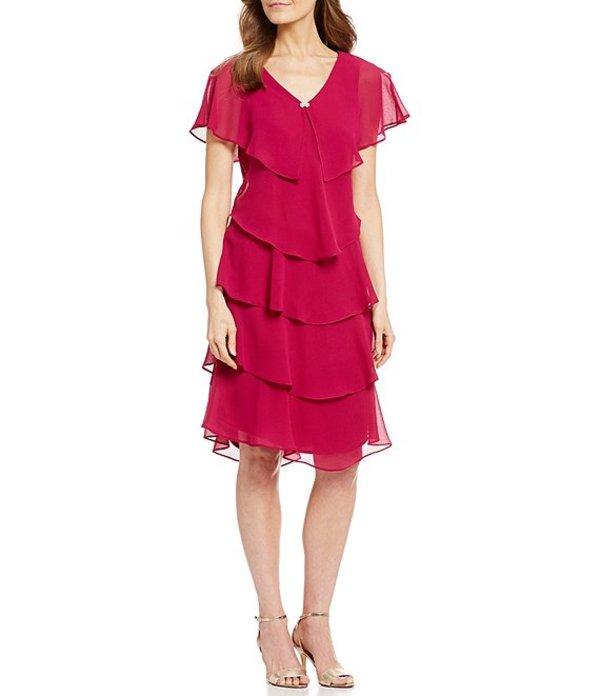 イグナイト レディース ワンピース トップス Georgette Tiered Capelet Dress Bright Fuschia
