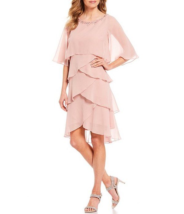 イグナイト レディース ワンピース トップス Tiered Embellished Chiffon Cape Dress Faded Rose