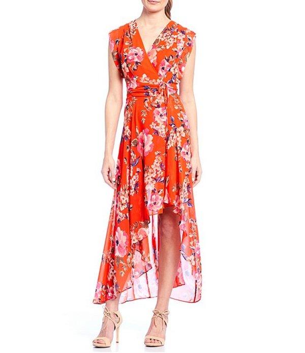エリザジェイ レディース ワンピース トップス Floral Hi-Low Maxi Dress Orange