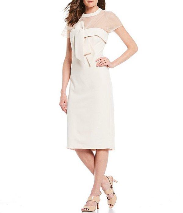 ジェイエスコレクションズ レディース ワンピース トップス Illusion Neck Crepe Bow Front Detail Midi Dress Ivory