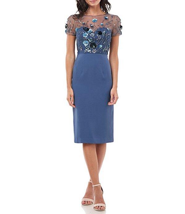 ジェイエスコレクションズ レディース ワンピース トップス Embroidered Floral Illusion Bodice Sheath Dress Mineral Blue